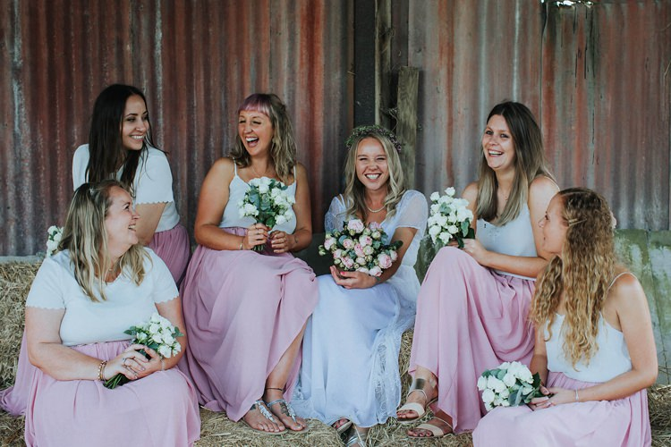 Bridesmaids Pink Skirts White Tops Flowers Bouquets Rustic Homespun Country Chapel Barn Wedding Sussex http://www.olegssamsonovsphotography.com/
