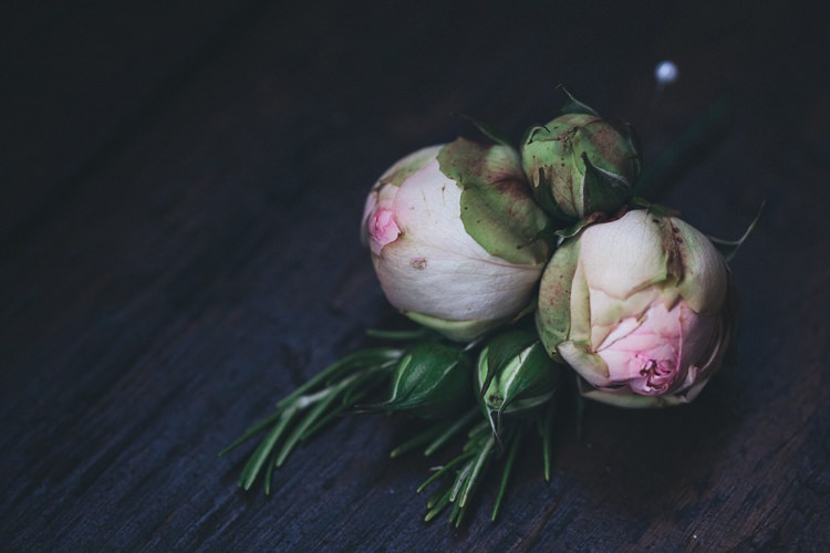 Pink Piano Rose Rosemary Buttonhole Rustic Homespun Country Chapel Barn Wedding Sussex http://www.olegssamsonovsphotography.com/