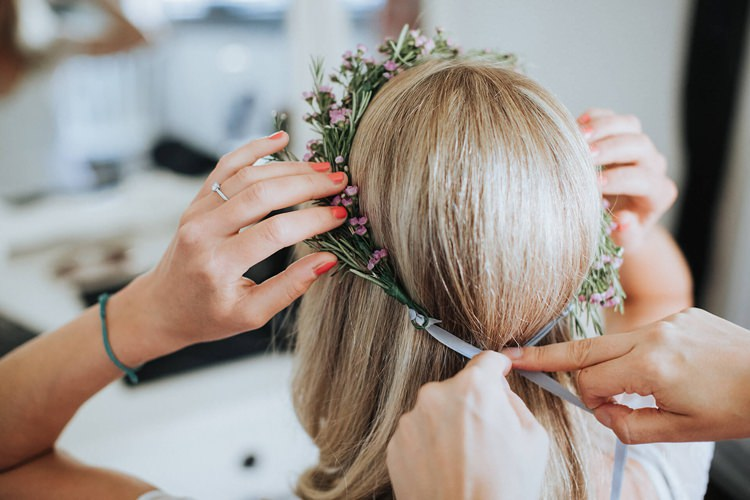 Pink Wax Flower Crown Bride Bridal Ribbon Rustic Homespun Country Chapel Barn Wedding Sussex http://www.olegssamsonovsphotography.com/