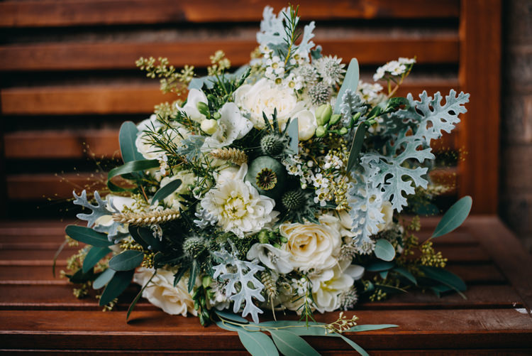 Bride Bridal Bouquet Greenery White Cream Flower Floral Corn Magical Woodland Family Wedding http://photographybyclare.co.uk/