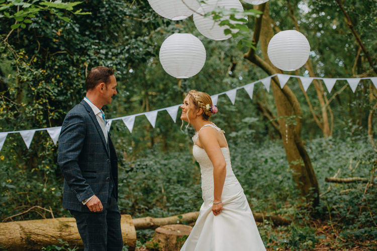 Bride Bridal Gown Dress Bolero Strapless Halo Braid Hairstyle Blue Checked Groom Cravat Three Piece Waistcoat Magical Woodland Family Wedding http://photographybyclare.co.uk/