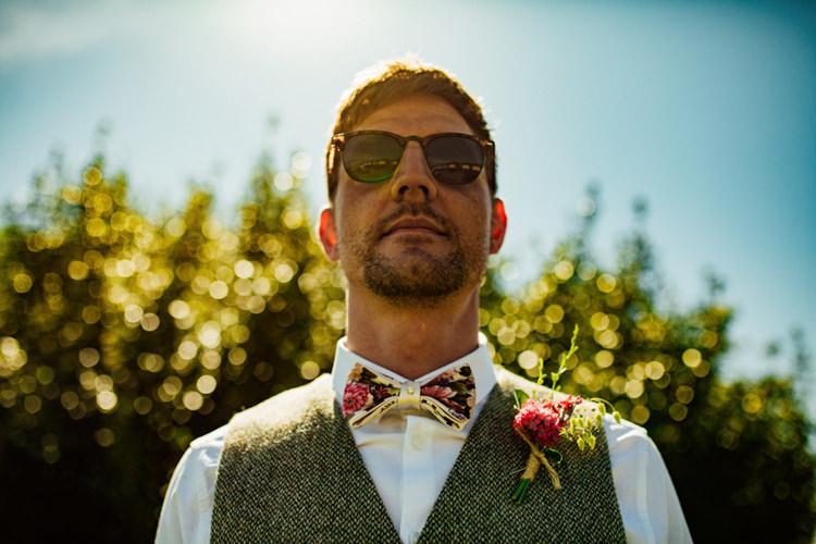 Groom Floral Bow Tie Tweed Waistcoat Buttonhole Boho DIY Secret Garden Wedding https://bibandtuckerphotography.co.uk/