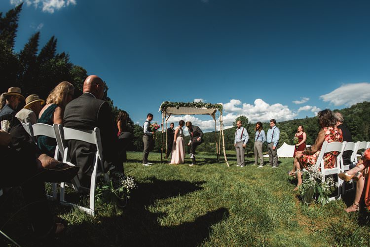 Outdoor Field Forest Wild Nature Marquee Tipi Bride Groom Floral Ceremony Aisle | Breathtaking Secluded Back Garden Open Sided Tent Wedding Vermont https://kickasscouples.com/