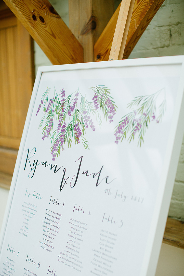 Seating Plan Table Chart Calligraphy Lavender Floral Understated Elegance Greenery Natural Wedding Gaynes Park Essex http://ilariapetrucci.co.uk/