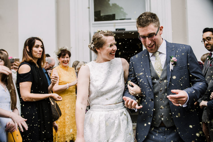 Bride Bridal Dress Gown Two Piece Crop Top Groom Grey Blue Green Three Piece Waistcoat Confetti Shot Fun DIY Wedding New Walk Museum Leicester https://www.daniellefrancescaphotography.com/