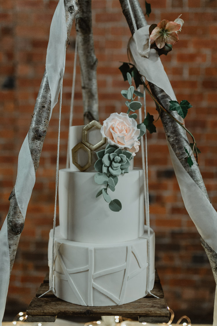 Cake Geometric Triangles Industrial Violet Greenery Succulents Edison Lighting Wedding Ideas https://www.steviejayphotography.co.uk/