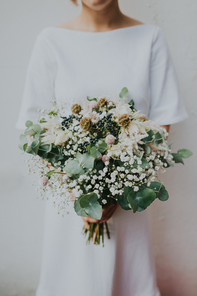 Bride Bridal Bouquet Gypsophila Greenery Eucalyptus Natural Chilled Out Individual Simple City Wedding Stoke Newington Town Hall London The Tab Centre http://www.kategrayphotography.com/