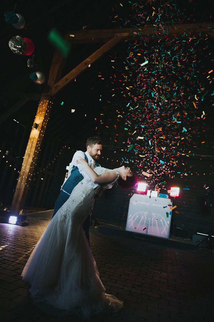 Bride Bridal Maggie Sottero Ivory over Gold V Neck Lace Groom Blue Suit Three Piece Waistcoat Bespoke Confetti Cannon First Dance Colourful Informal Wedding Victorian Fairground Games Elmley Nature Reserve Kent http://www.juliaandyou.com/