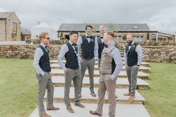Groom Groomsmen Best Man Waist Coat Bow Tie Chinos Tweed Non-Traditional Country Party Barn Wedding Yorkshire http://www.lauracalderwood.co.uk/