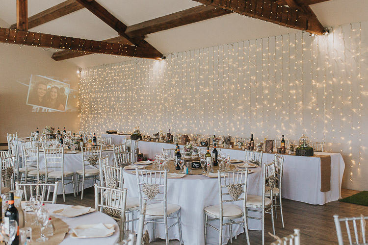 Fairy Lights Curtain Decor Non-Traditional Country Party Barn Wedding Yorkshire http://www.lauracalderwood.co.uk/