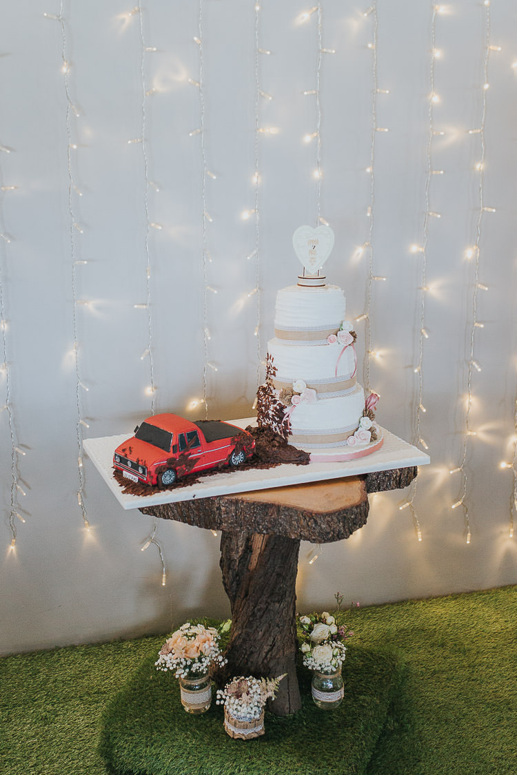 Fairy Lights Curtain Decor Cake Car Log Stump Non-Traditional Country Party Barn Wedding Yorkshire http://www.lauracalderwood.co.uk/