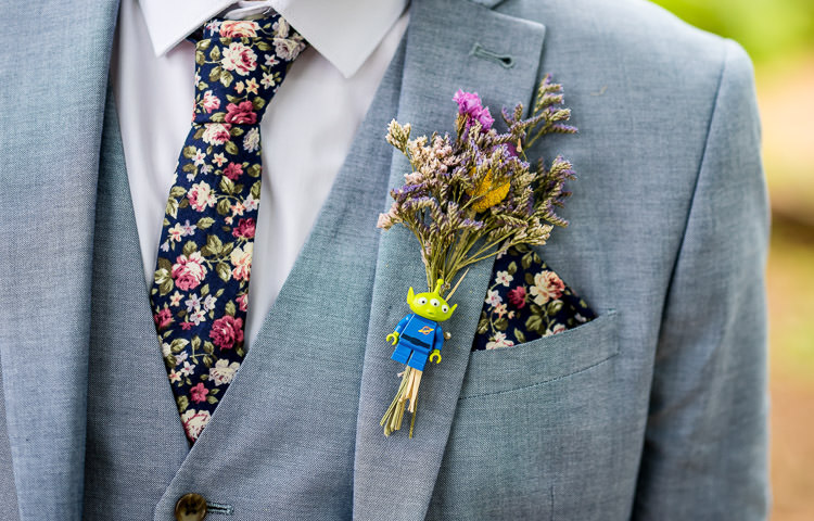 Dried Flower Buttonhole Lego Groom Mismatched Colourful Wildflower Meadow Wedding Hush Venues Norfolk http://lighteningphotography.co.uk/