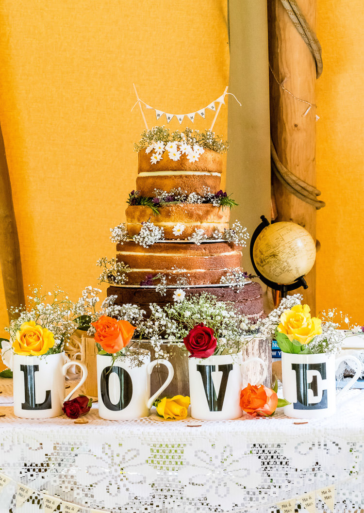 Naked Cake Sponge Layer Bunting LOVE Mugs Flowers Mismatched Colourful Wildflower Meadow Wedding Hush Venues Norfolk http://lighteningphotography.co.uk/