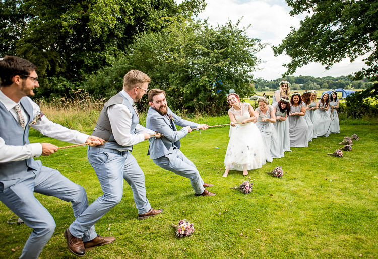 Tug Of War Game Mismatched Colourful Wildflower Meadow Wedding Hush Venues Norfolk http://lighteningphotography.co.uk/