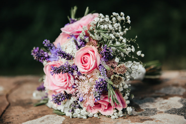 Bride Bridal Posy Bouquet Pink Rose Lavender Gypsophila Relaxed Natural Local Country Marquee Wedding http://francescahillphotography.com/