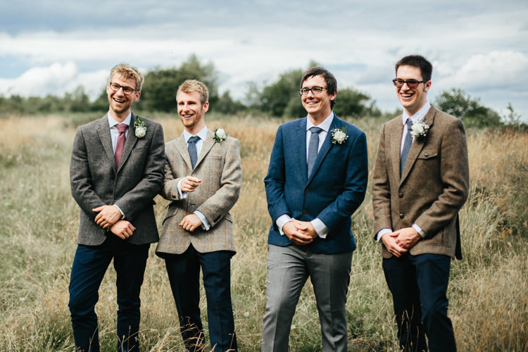 Mismatched Groomsmen Tweed Jacket Chinos Relaxed Natural Local Country Marquee Wedding http://francescahillphotography.com/