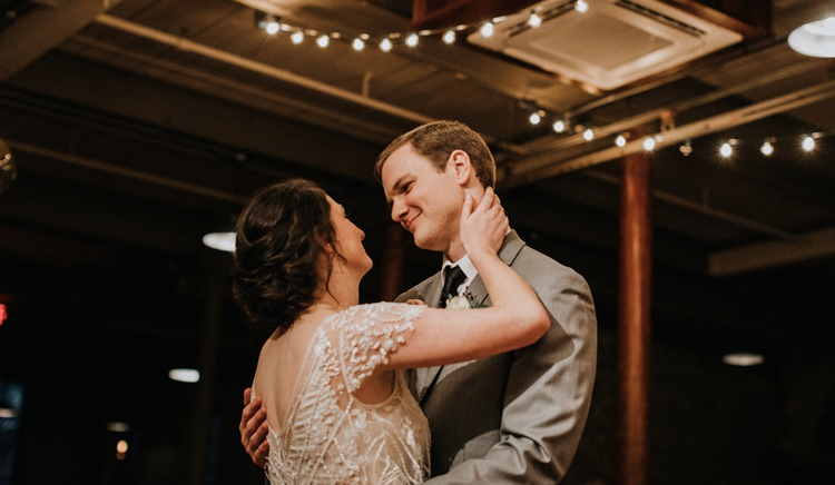 City Urban Georgia Engine Room Exposed Bricks Reception Bride Groom First Dance | Bohemian Industrial Oxblood Wedding https://www.lunaleephotos.com/