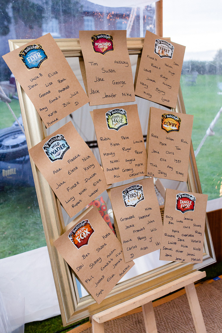 Table Plan Seating Chart Mirror Local Beer Easel Autumn Countryside Family Farm Wedding Dorset http://www.lydiastampsphotography.com/
