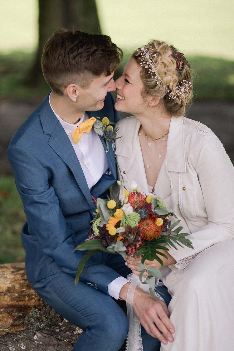 Groom Blue Suit Bow Tie Yellow Colourful Indie London City Wedding Clissold House West Reservoir Centre https://www.murrayclarke.co.uk/