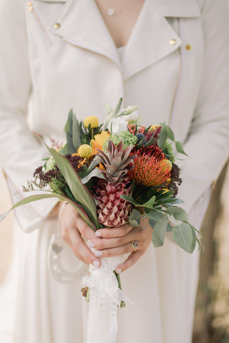 Flowers Bouquet Bride Bridal Yellow Red Sunflower Billy Ball Ribbon Colourful Indie London City Wedding Clissold House West Reservoir Centre https://www.murrayclarke.co.uk/