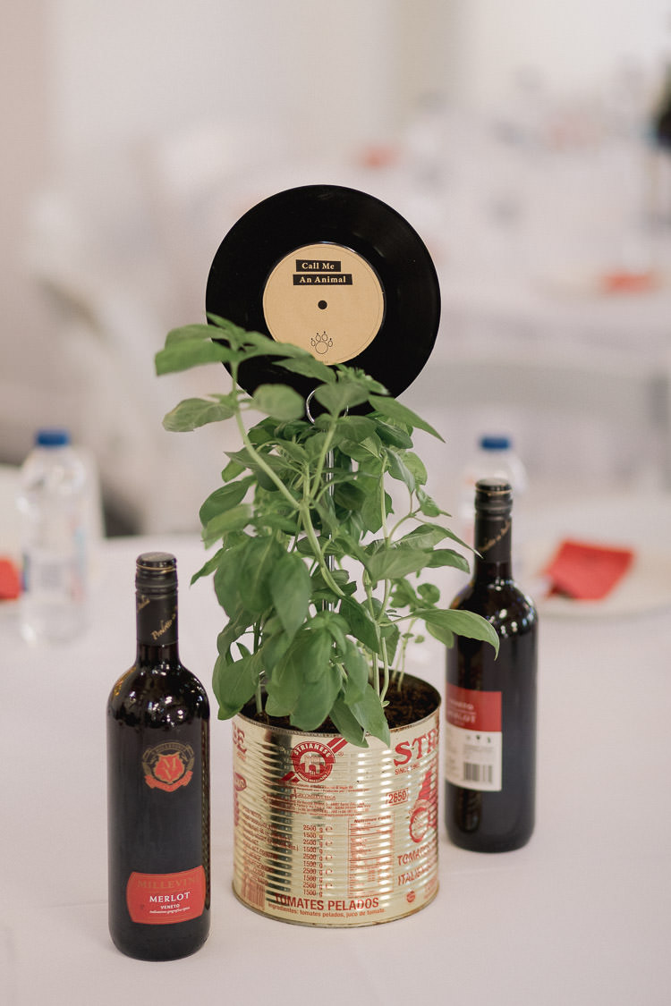 Basil Tin Pot Centrepiece Record Table Name Colourful Indie London City Wedding Clissold House West Reservoir Centre https://www.murrayclarke.co.uk/