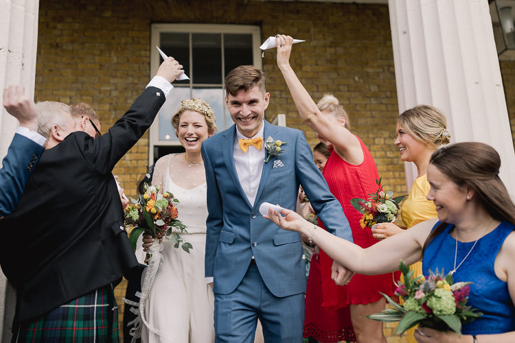 Confetti Throw Colourful Indie London City Wedding Clissold House West Reservoir Centre https://www.murrayclarke.co.uk/