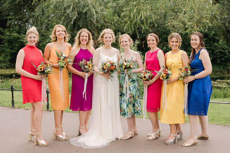 Rainbow Bridesmaid Dresses Mismatched Colourful Indie London City Wedding Clissold House West Reservoir Centre https://www.murrayclarke.co.uk/