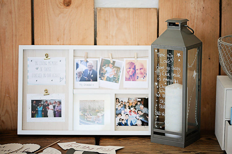 Memories Loved Ones Remembrance Storm Lantern Candle Photo Board Pegs Pretty Sparkly Lusty Glaze Beach Cornwall Wedding http://victoriamitchellphotography.com/