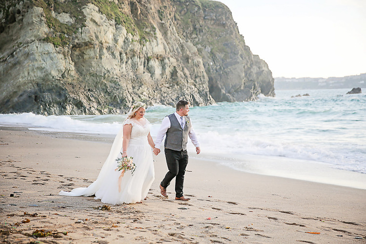 Bride Bridal Dress Gown Lace V Neck Cap Sleeve Pink Peach Bouquet Groom Waistcoat Tweed Grey Flower Foliage Crown Pretty Sparkly Lusty Glaze Beach Cornwall Wedding http://victoriamitchellphotography.com/