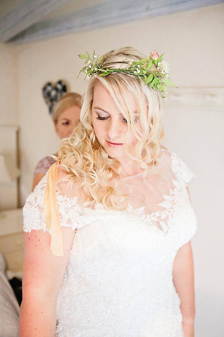 Foliage Crown Hair Piece Lace V Neck Dress Bride Bridal Dress Gown Pretty Sparkly Lusty Glaze Beach Cornwall Wedding http://victoriamitchellphotography.com/