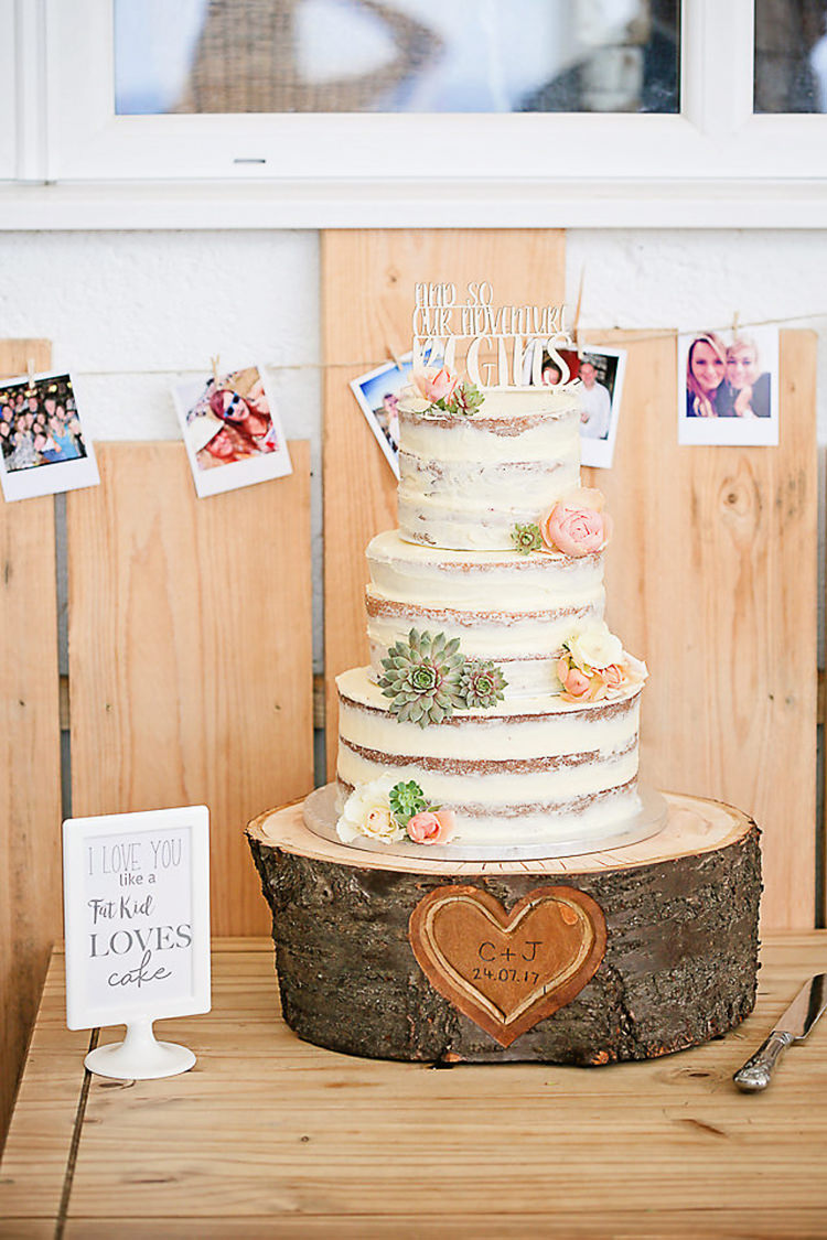 Buttercream Cake Tiered Wood Slice Succulent Flowers Floral Pretty Sparkly Lusty Glaze Beach Cornwall Wedding http://victoriamitchellphotography.com/