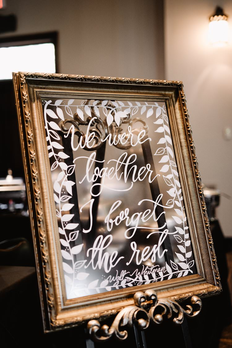 We Were Together I Forget The Rest Whitman Quote Calligraphy Sign Mirror Gold Frame | Dreamy Blush Emerald Fairytale Wedding Oklahoma http://www.kelcyleighphotography.com/