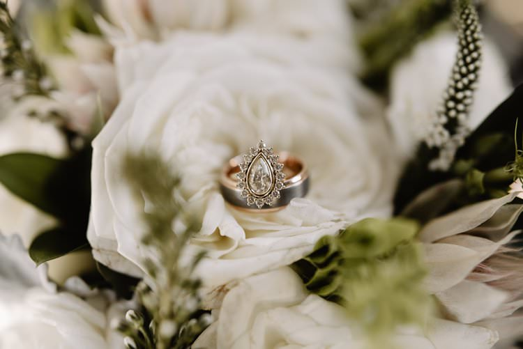 Outdoor Destination Classic Neutral Simple White Greenery Bouquet Vintage Teardrop Ring | Dreamy Blush Emerald Fairytale Wedding Oklahoma http://www.kelcyleighphotography.com/