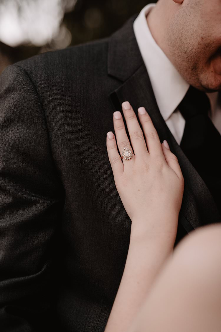 Outdoor Destination Classic Romantic Vintage Teardrop Ring | Dreamy Blush Emerald Fairytale Wedding Oklahoma http://www.kelcyleighphotography.com/