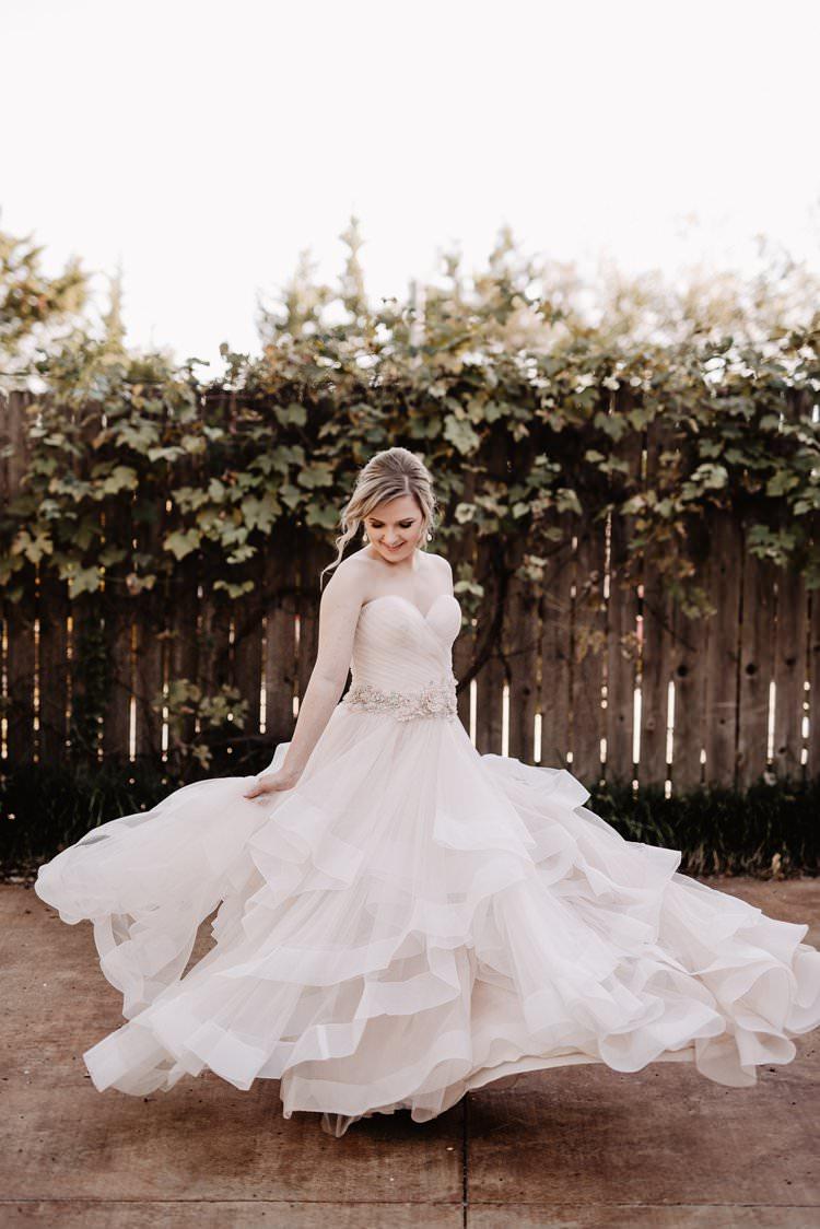 Outdoor Destination Romantic Classic Pink Bride Princess Gown Fun Twirl | Dreamy Blush Emerald Fairytale Wedding Oklahoma http://www.kelcyleighphotography.com/