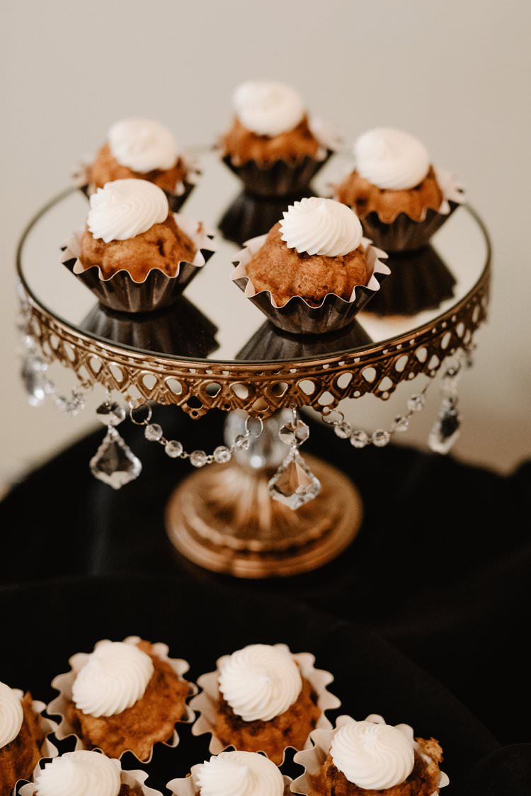 Cupcakes White Icing Dessert Table Mirrored Cake Stand Crystal Decor | Dreamy Blush Emerald Fairytale Wedding Oklahoma http://www.kelcyleighphotography.com/
