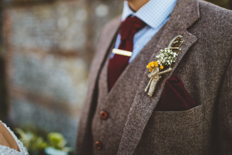 Twine Dried Flower Buttonhole Groom Relaxed Country Tipi Yellow Wedding Hampshire https://photography34.co.uk/