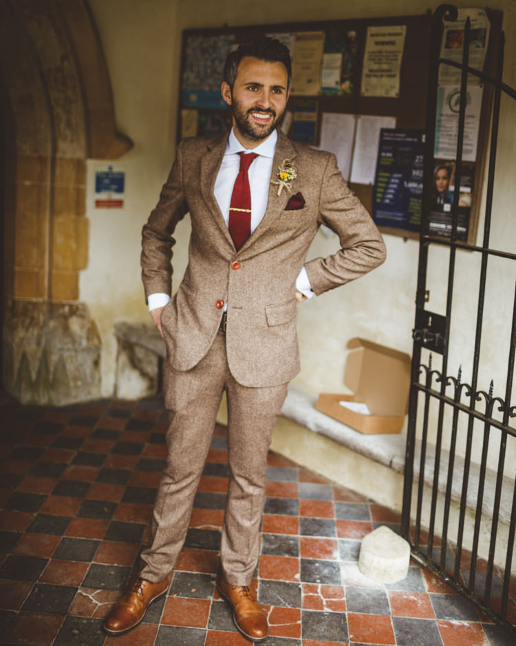 Groom Groomsmen Groomsman Best Man Tweed Brown Suit Tan Shoes Red Tie Relaxed Country Tipi Yellow Wedding Hampshire https://photography34.co.uk/