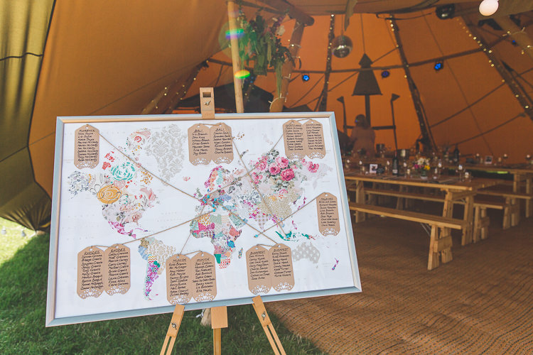 Table Plan World Map Floral Luggage Tags Travel Seating Chart Easel Colourful Outdoor Tipi Farm Wedding https://kirstymackenziephotography.co.uk/