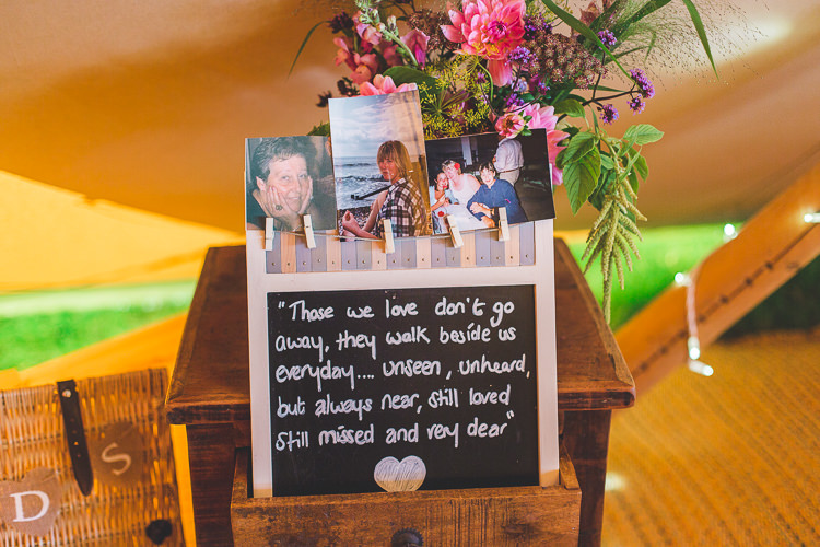 Memories Loved Ones Remembrance Photographs Pegs Blackboard Colourful Outdoor Tipi Farm Wedding https://kirstymackenziephotography.co.uk/