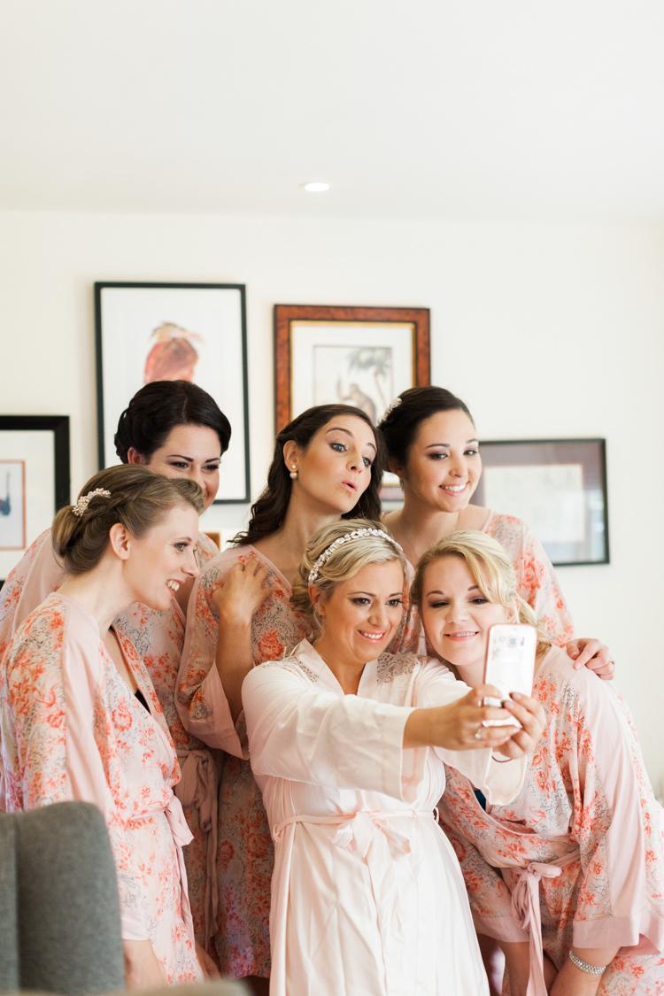 Bridesmaid Selfie Robes Dressing Gown Bride Bridal Hazy Summer Lavender Grey Wedding Cripps Barn Cotswolds http://jobradbury.co.uk/
