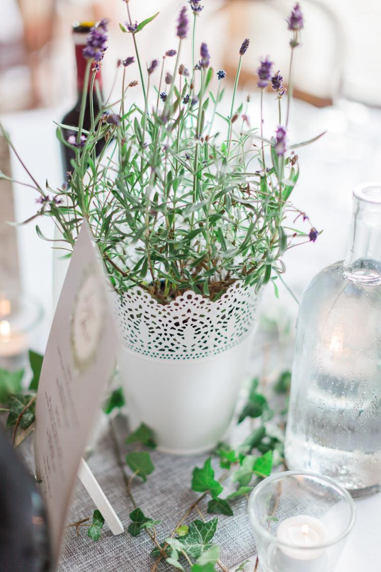 Pot Plants Centrepiece Hazy Summer Lavender Grey Wedding Cripps Barn Cotswolds http://jobradbury.co.uk/