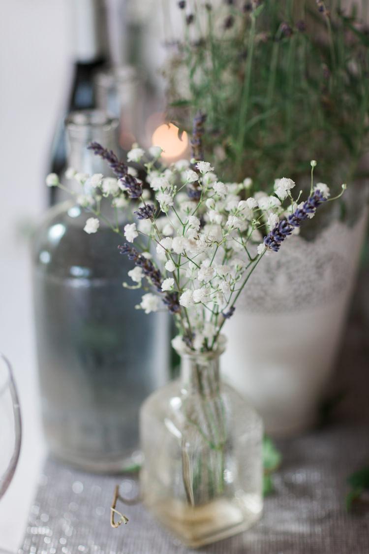 Gypsophila Flowers Bottle Hazy Summer Lavender Grey Wedding Cripps Barn Cotswolds http://jobradbury.co.uk/