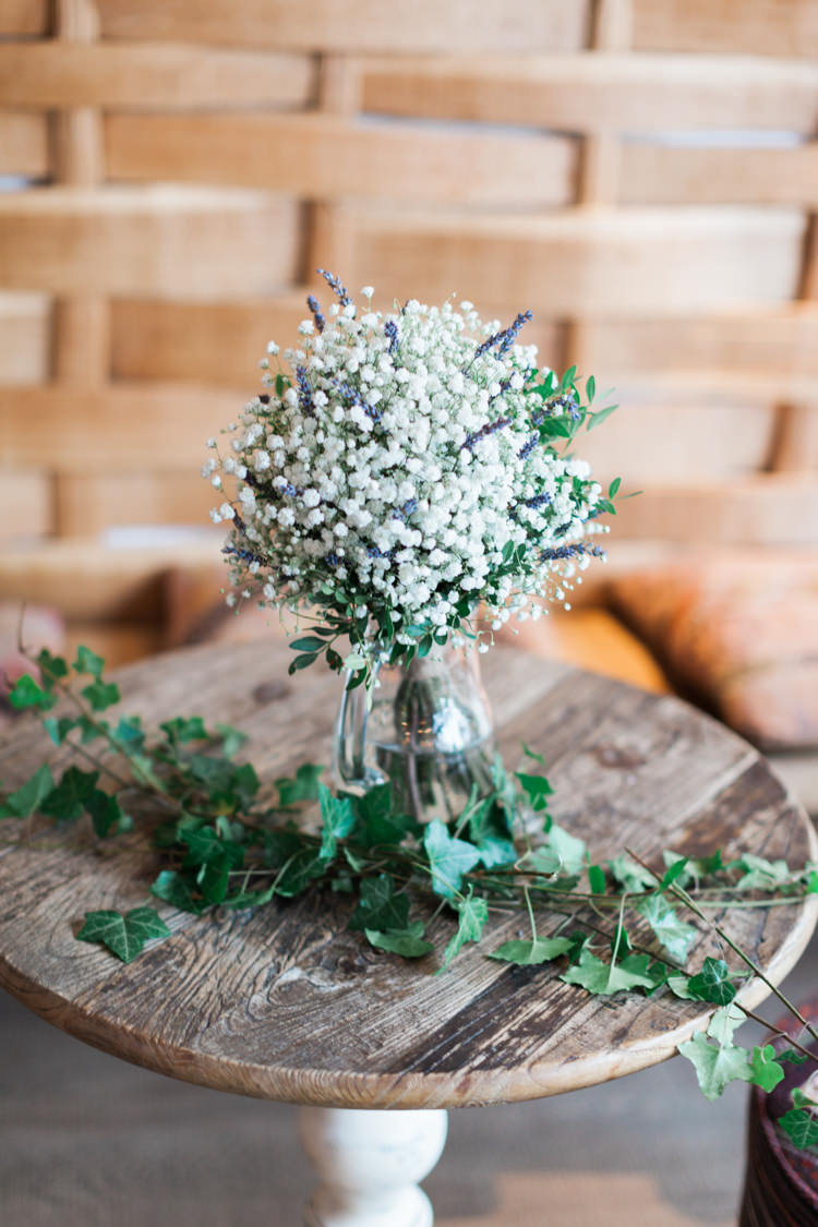 Gypsophila Flowers Vase Hazy Summer Lavender Grey Wedding Cripps Barn Cotswolds http://jobradbury.co.uk/