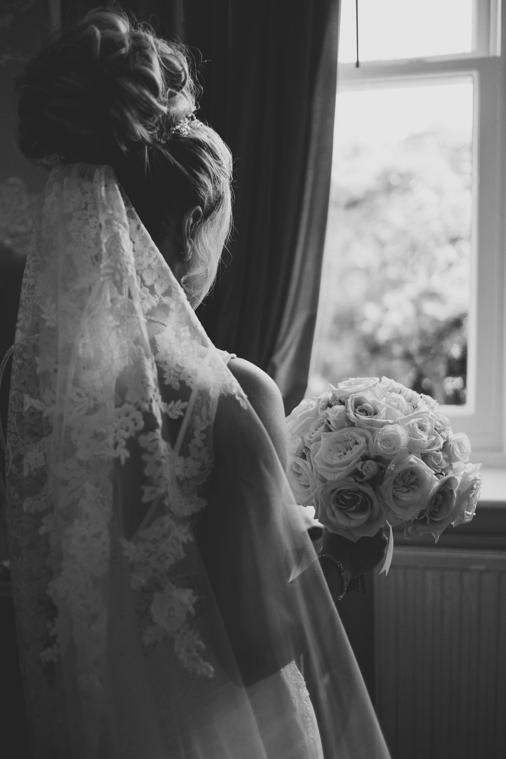 Black and White Veil Bride Bridal Prep Morning Hair Updo Classic Traditional Elegant Round White Rose Bouquet | Ashfield House Wedding Kate McCarthy Photography