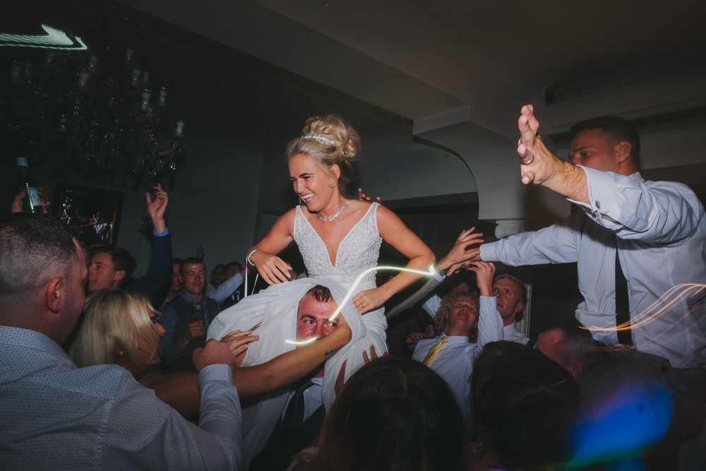 Bride Groom First Dance Floor Fun Updo Braces Grey Suit Lifted | Ashfield House Wedding Kate McCarthy Photography