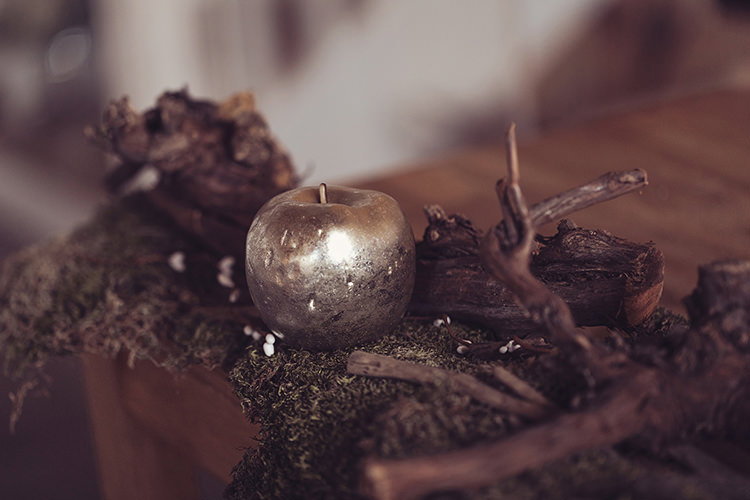 Table Moss Twigs Gold Apple Magical Wonderland Askham Hall Wedding Winter Tiree Dawson Photography