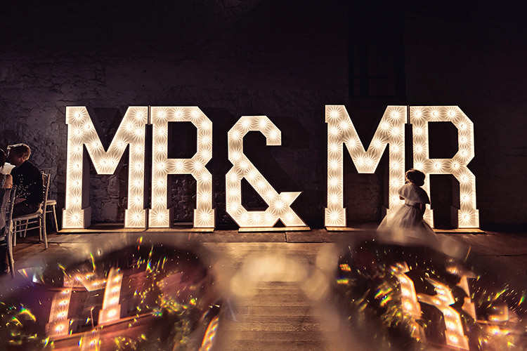 Mr & Mr Light Up Letters Magical Wonderland Askham Hall Wedding Winter Tiree Dawson Photography