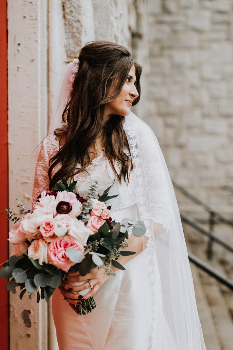 Warehouse Modern Refined Rustic Chic Bride Veil White Blush Burgundy Bouquet | Boho Industrial Winter Wedding Lunalee Photography