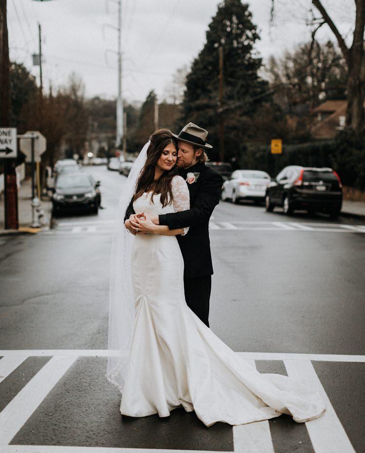 Warehouse Rustic Chic Refined Street Photography Groom Bride Atlanta | Boho Industrial Winter Wedding Lunalee Photography
